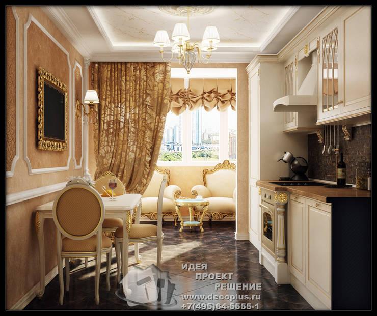 Роскошь золотистой отделки в интерьере кухни-столовой: Кухни в . Автор – Бюро домашних интерьеров