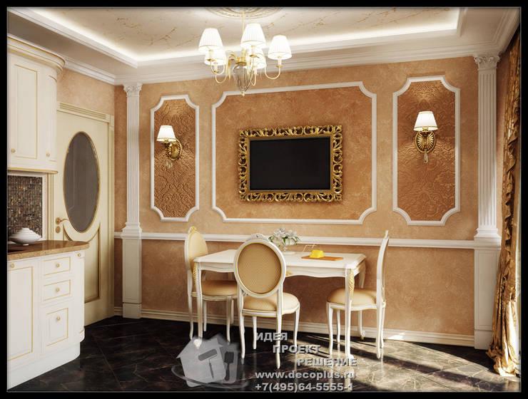 Столовая зона кухни с античными мотивами: Столовые комнаты в . Автор – Бюро домашних интерьеров
