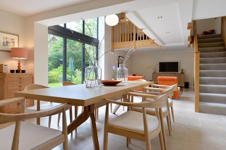 Contemporary Barn Conversion:  Living room by Natalie Davies Interior Design