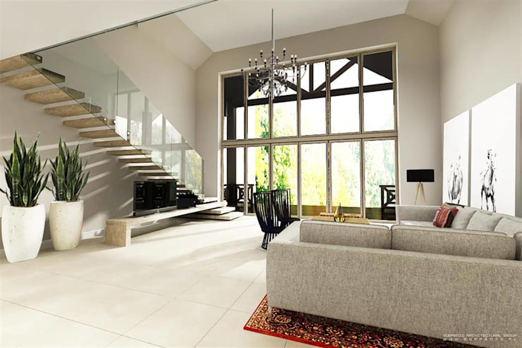 Dom – Mazury: styl , w kategorii  zaprojektowany przez Projektowanie Wnętrz Suspenzo