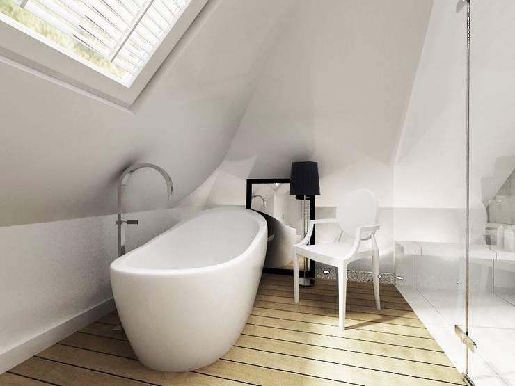 Łazienka na poddaszu: styl , w kategorii  zaprojektowany przez Projektowanie Wnętrz Suspenzo