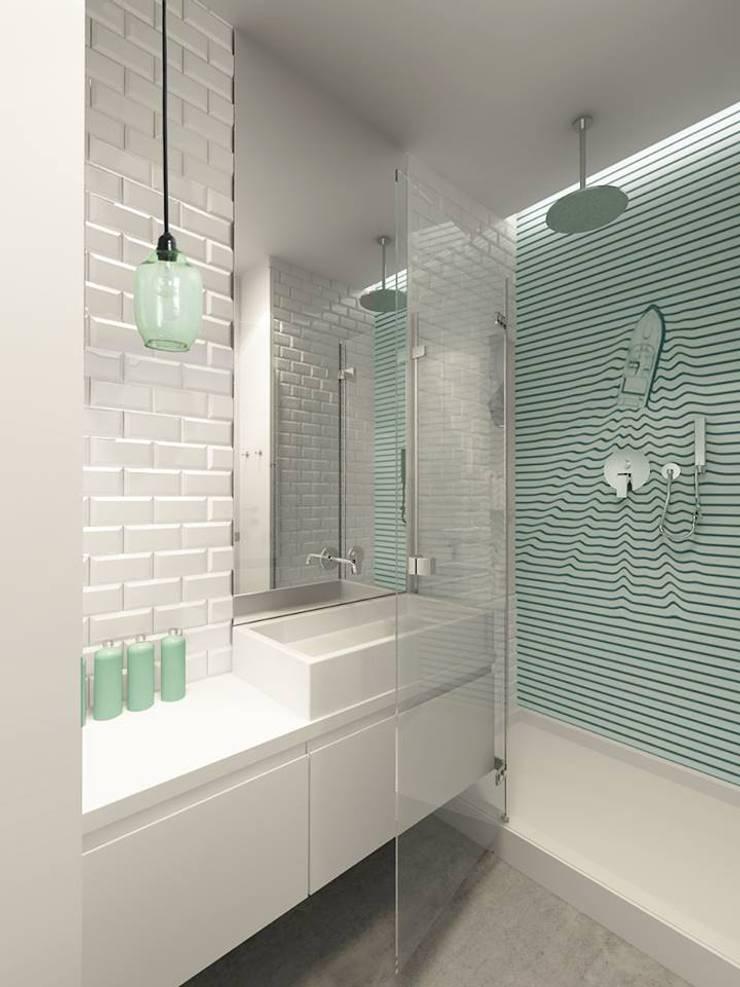 Żoliborz – łazienka: styl , w kategorii  zaprojektowany przez Projektowanie Wnętrz Suspenzo