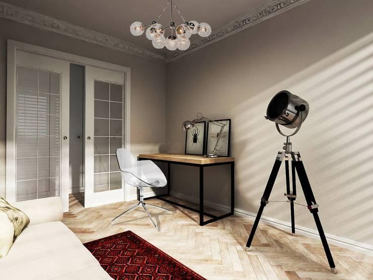 ul.Wiejska – gabinet i łazienka: styl , w kategorii  zaprojektowany przez Projektowanie Wnętrz Suspenzo