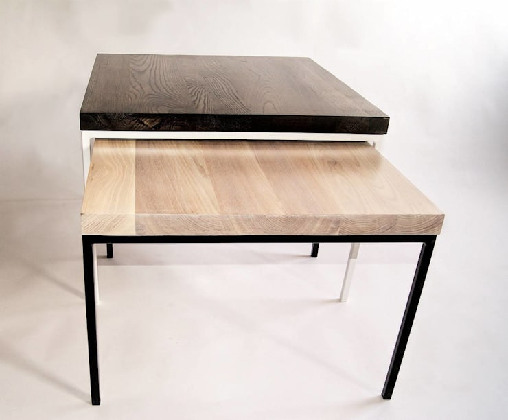 """Stoliki modernistyczne ze stali i dębu – zestaw """"GAMBIT"""": styl , w kategorii  zaprojektowany przez NordLoft - Industrial Design,Minimalistyczny"""