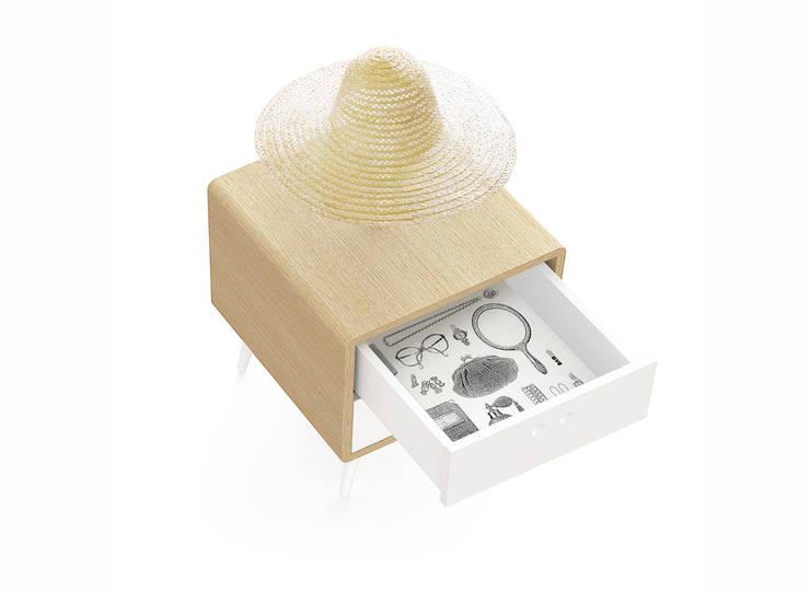 MARIA bedside table (drawer's inner coating in wallpaper): Casa  por DAM