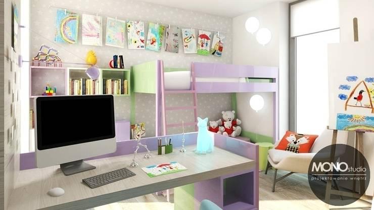 Jasne, przestronne, ale jednocześnie przytulne wnętrza pokoju dla dziecka.: styl , w kategorii Sypialnia zaprojektowany przez MONOstudio