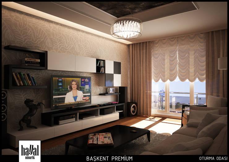 Hayal Mimarlık Mühendislik Proje İnş.San. Tic. Ltd.Şti. – Başkent Premium Örnek Daire:  tarz Oturma Odası