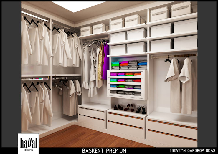 Vestidores y closets de estilo  por Hayal Mimarlık Mühendislik Proje İnş.San. Tic. Ltd.Şti.