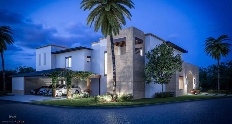 Render de fachada ppal de noche, en esquina:  de estilo  por Eugenio Adame Arquitectos