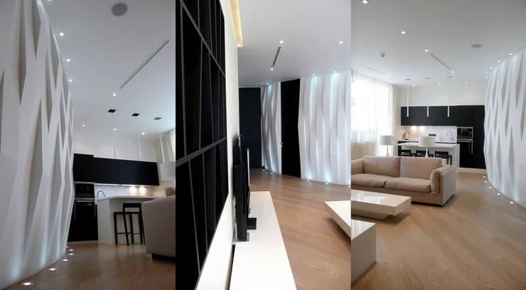 Квартира 130 кв.м. в ЖК <q>Дипломат</q>: Гостиная в . Автор – Студия Максима Рубцова.