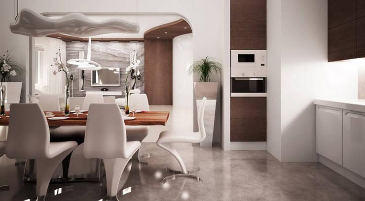 Квартира 420 кв.м. в ЖК <q>Остоженка Парк Палас</q>: Кухни в . Автор – Студия Максима Рубцова., Минимализм
