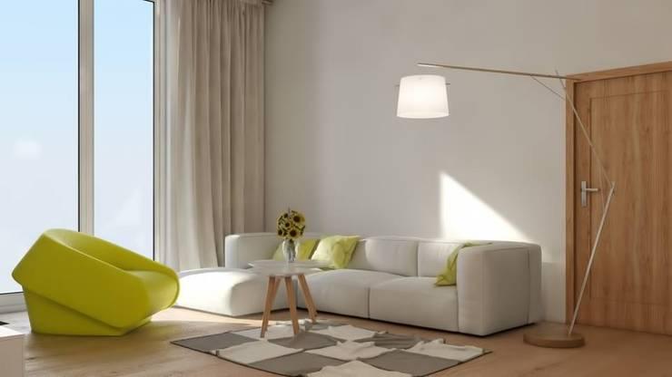 Nowoczesne mieszkanie z żółtymi akcentami: styl , w kategorii Salon zaprojektowany przez Le Pukka Concept Store,Minimalistyczny