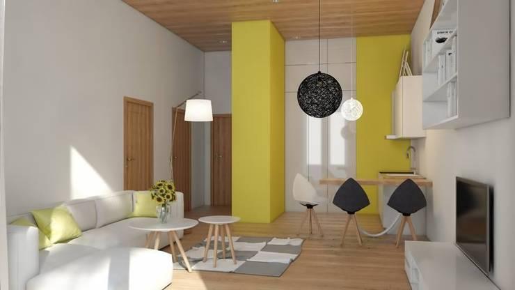 Nowoczesne mieszkanie z żółtymi akcentami: styl , w kategorii Jadalnia zaprojektowany przez Le Pukka Concept Store,Minimalistyczny
