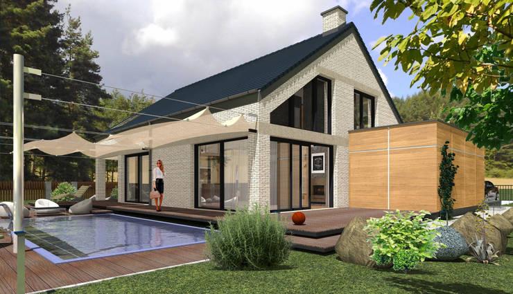 Domy pasywne: styl , w kategorii Domy zaprojektowany przez ABC Pracownia Projektowa Bożena Nosiła - 1,