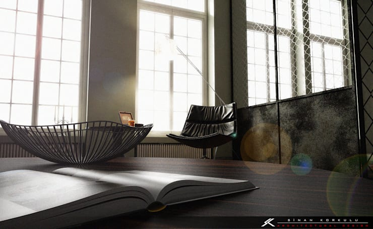 SK ARCHITECTURAL VISUALIZATION – LOFT RESIDANCE: modern tarz Oturma Odası