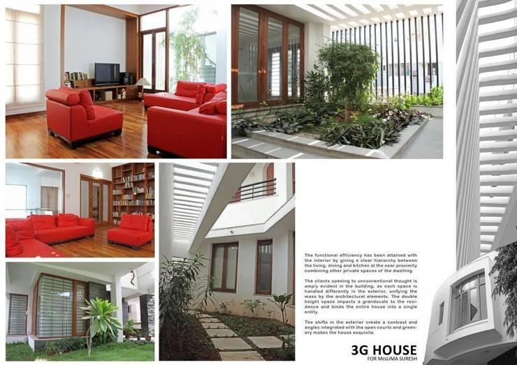 3G HOUSE – UMA SURESH:  Living room by Muraliarchitects,Modern