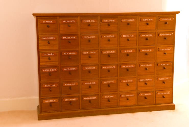 Glaxo Smith Kline Apothecary Chest designed and made by Tim Wood:  Office spaces & stores  by Tim Wood Limited