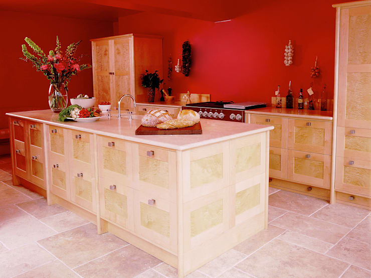 Quilted Maple Kitchen with Red Wall designed and made by Tim Wood:  Kitchen by Tim Wood Limited