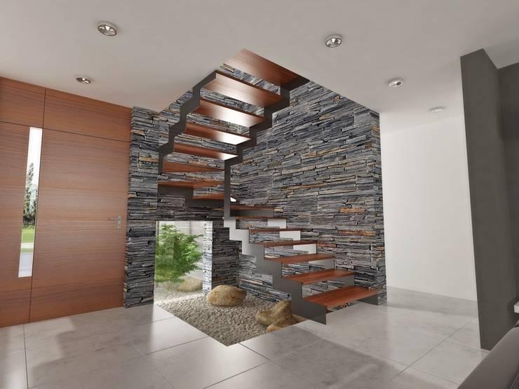 Pasillos y hall de entrada de estilo  por Chazarreta-Tohus-Almendra