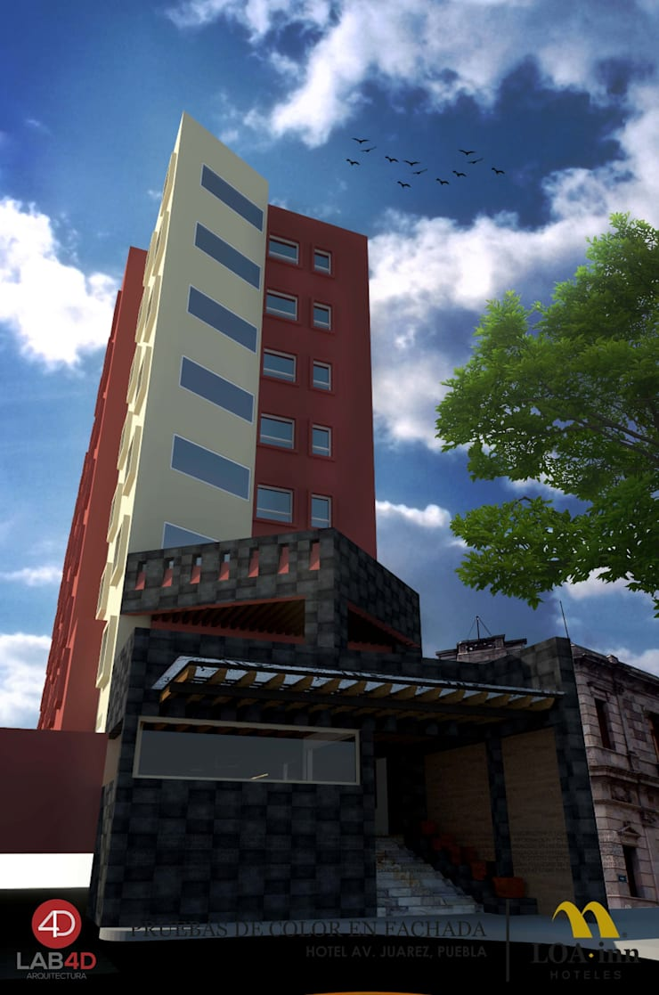 Hotel Loa Inn Av. Juarez: Hoteles de estilo  por Laboratorio 4D SA de CV