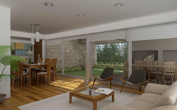 Renders interiores: Livings de estilo  por Entretrazos,Moderno