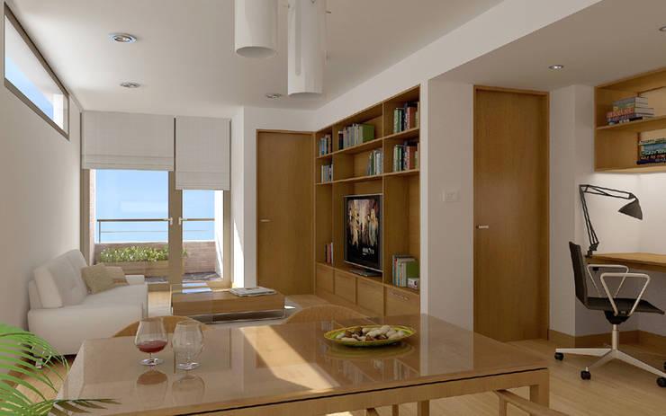 Renders interiores: Comedores de estilo  por Entretrazos,Moderno