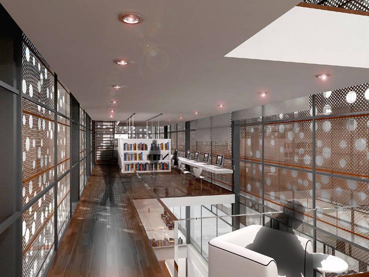 Renders interiores: Salas multimedia de estilo  por Entretrazos,Moderno