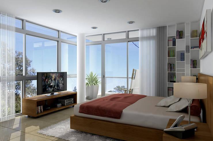 Renders interiores: Dormitorios de estilo  por Entretrazos,Moderno