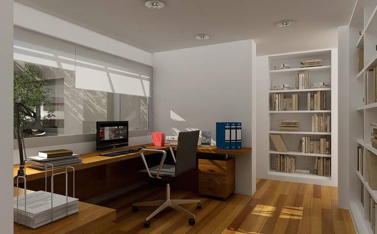 Renders interiores: Estudios y oficinas de estilo  por Entretrazos,Moderno