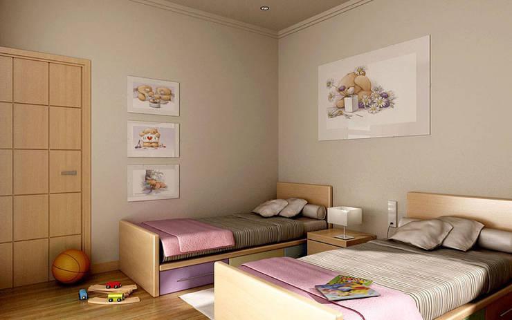 Renders interiores: Dormitorios infantiles de estilo  por Entretrazos,Moderno