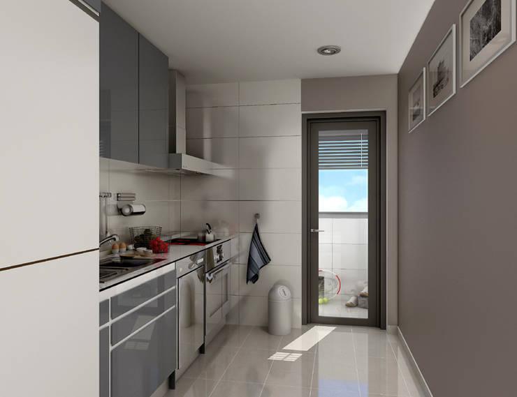 Renders interiores: Cocinas de estilo  por Entretrazos