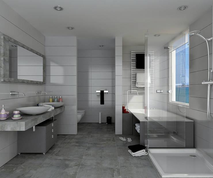 Renders interiores: Baños de estilo moderno por Entretrazos