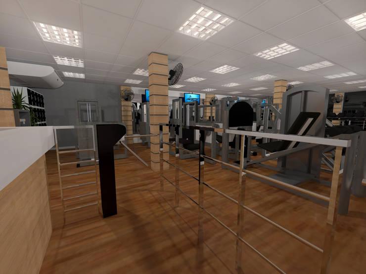 Academia Companhia do Corpo: Fitness  por Konverto Interiores + Arquitetura