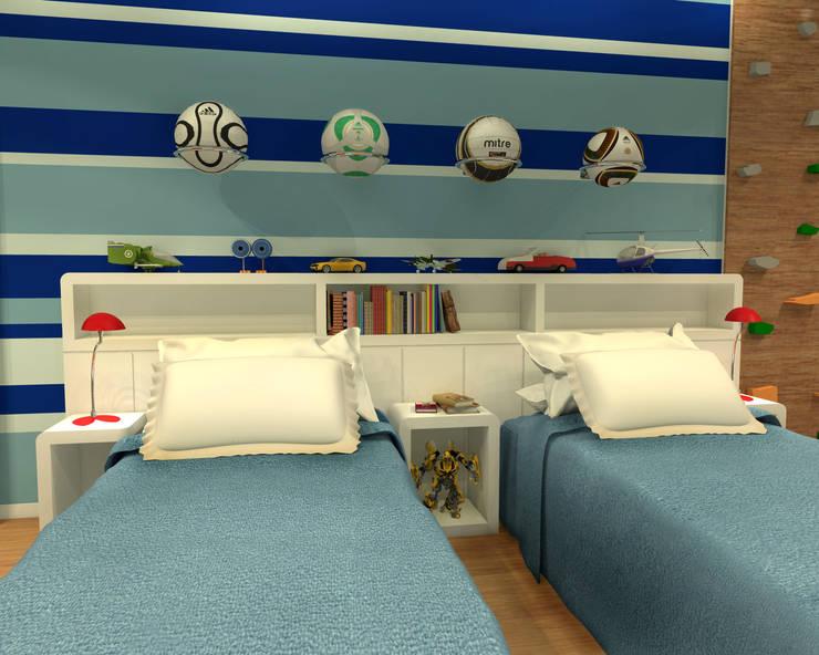 Quarto Gêmeos – Copacabana RJ: Quarto infantil  por Konverto Interiores + Arquitetura,