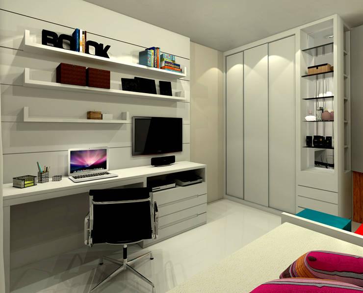 Quarto Carolina – Barra da Tijuca RJ: Quartos  por Konverto Interiores + Arquitetura,