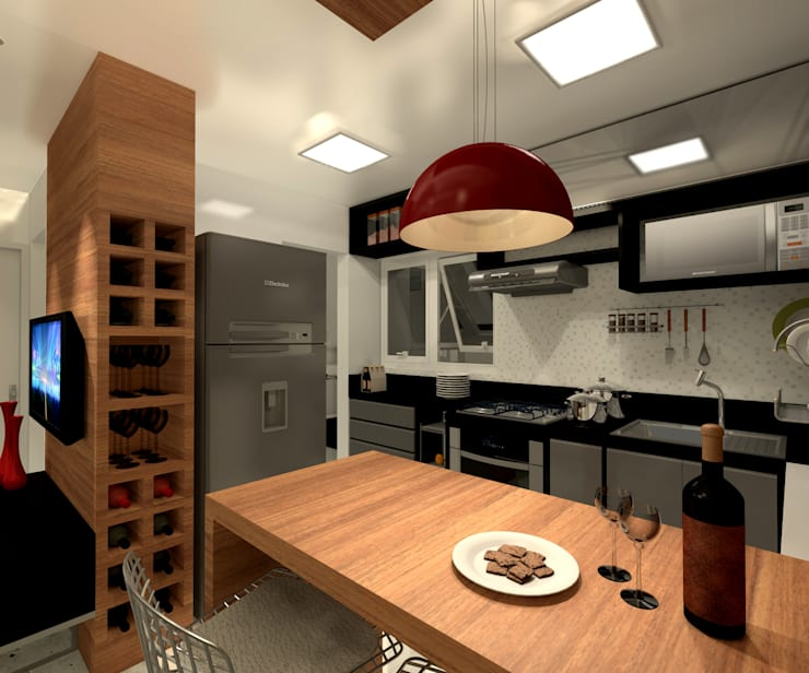 Residência 39m² Tijuca – RJ: Cozinhas  por Konverto Interiores + Arquitetura