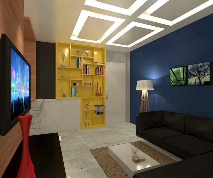 Residência 39m² Tijuca – RJ: Salas de estar  por Konverto Interiores + Arquitetura