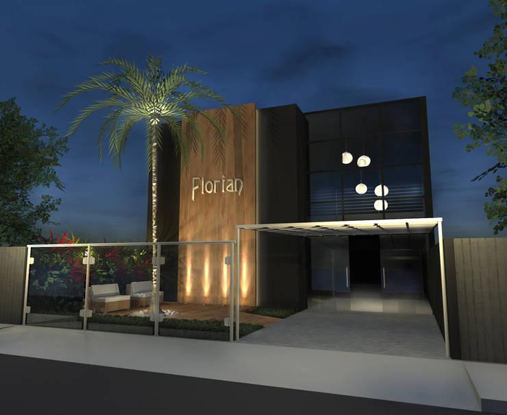 Fachada Salão de Festas: Locais de eventos  por Konverto Interiores + Arquitetura,Moderno