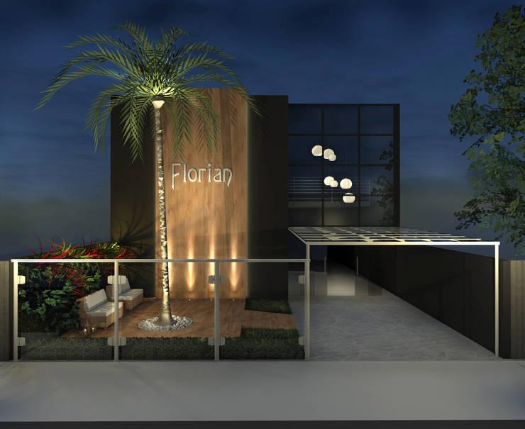 Fachada sal o de festas por konverto interiores for Casa moderno kl