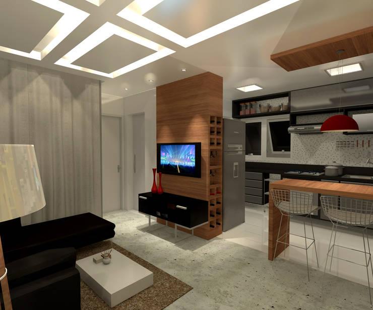Residência 39m² Tijuca - RJ: Salas de estar  por Konverto Interiores + Arquitetura