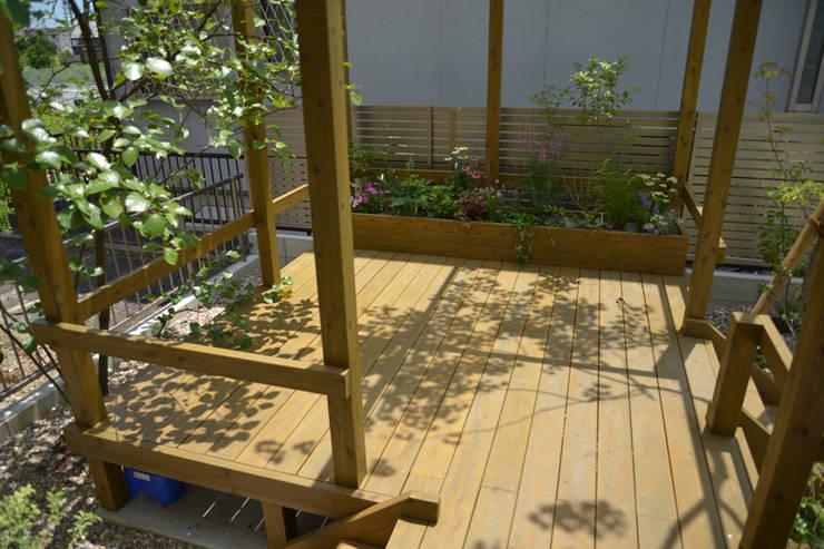 トヨタホーム庭・リガーデン|ウッドデッキが主役な庭: T's Garden Square Co.,Ltd.が手掛けた商業空間です。