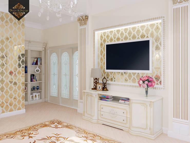 Золотая классика / трехкомнатная квартира в Казани по ул. Муштари: Гостиная в . Автор – Decor&Design