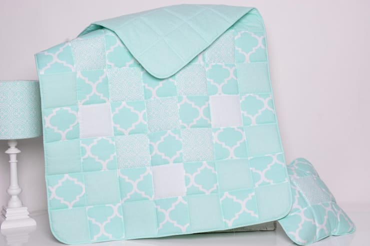 Narzuta FRESH MINT 95x150cm + poduszki: styl , w kategorii Pokój dziecięcy zaprojektowany przez majunto