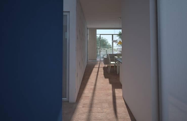 Acceso, casa Kompa-Enríquez: Pasillos y recibidores de estilo  por Axios Arquitectos