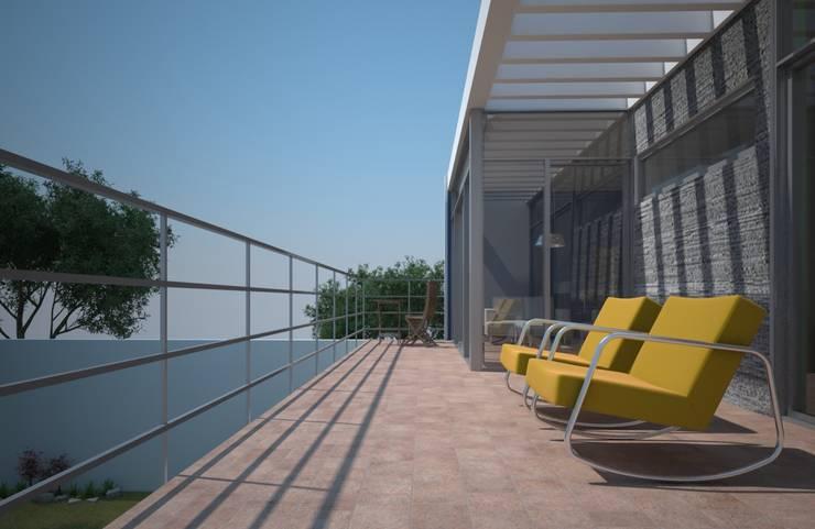 Terraza-balcon, casa Kompa-Enríquez: Terrazas de estilo  por Axios Arquitectos