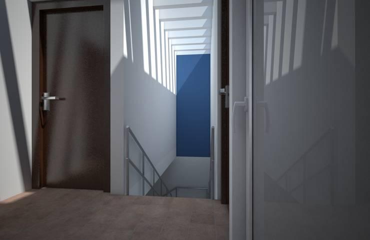 Escalera a sótano, casa Kompa-Enríquez: Pasillos y recibidores de estilo  por Axios Arquitectos