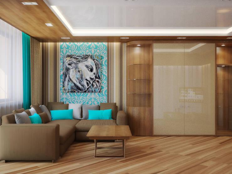 Квартира в поселке Поворово Московской области : Гостиная в . Автор – Симуков Святослав частный дизайнер интерьера