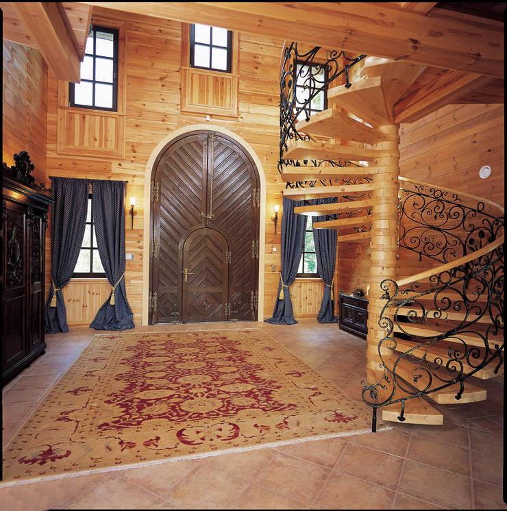 Rustic style corridor, hallway & stairs by ELK Fertighaus GmbH Rustic