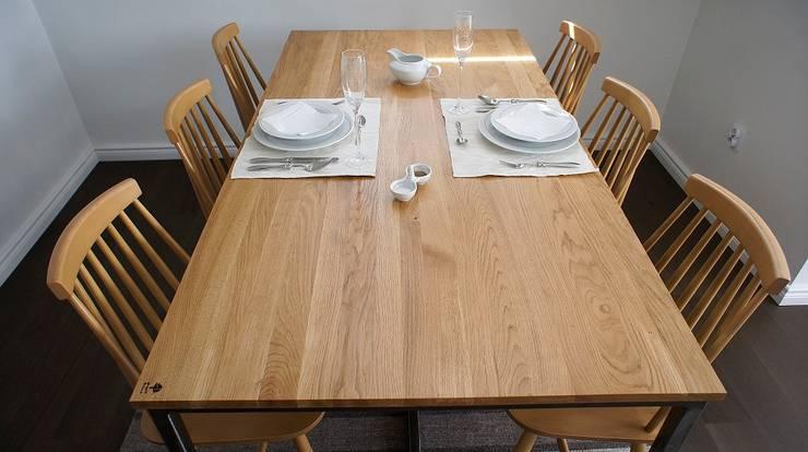 Stół, biurko, Industrial Dining Oak: styl , w kategorii Jadalnia zaprojektowany przez projekt drewno,