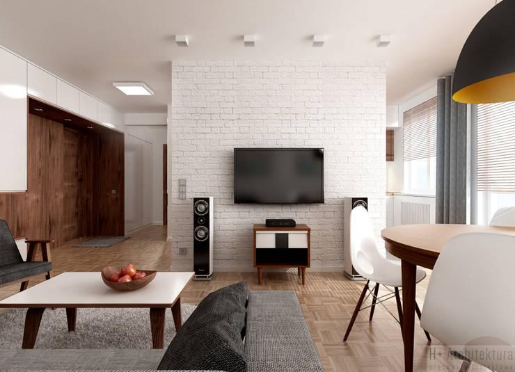 Poturzyńska   Lublin: styl , w kategorii Salon zaprojektowany przez H+ Architektura,Nowoczesny